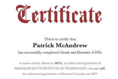 MITx 6.002x certificate